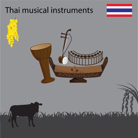 Thai National Musical Instrument, national flower of Thai.