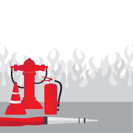 Fire fighting equipment, Vector illustration