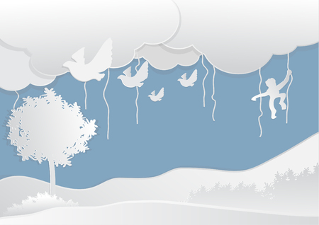 Wildlife in forest with Cloud, paper art style, vector illustration.