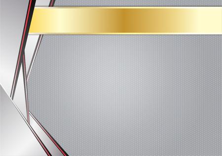 aluminium texture: abstract sharp metallic, aluminum with gold frame,  vector illustration. Illustration