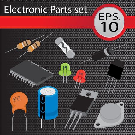capacitor: Electronic Parts set, flat design, vector illustration. Illustration