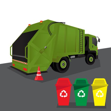truck for assembling and transportation garbage, vector illustration.