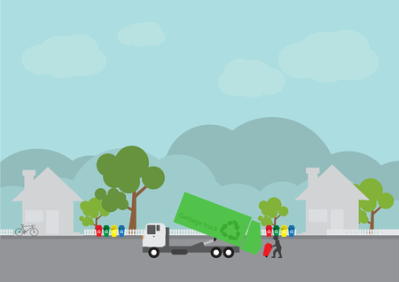 garbage transportation to dumb near the city, Truck delivery, vector illustration. Illustration