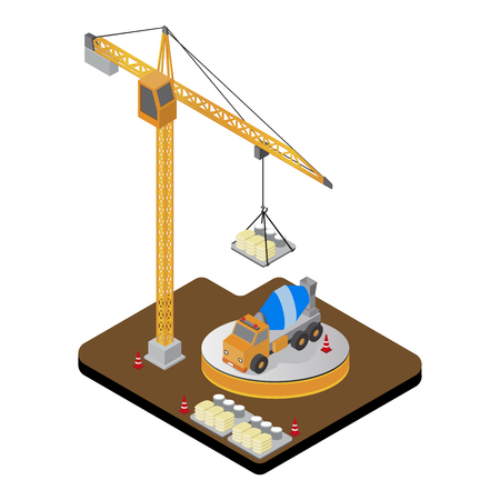 Vector isometric low poly  Construction crane, vector illustrstion.