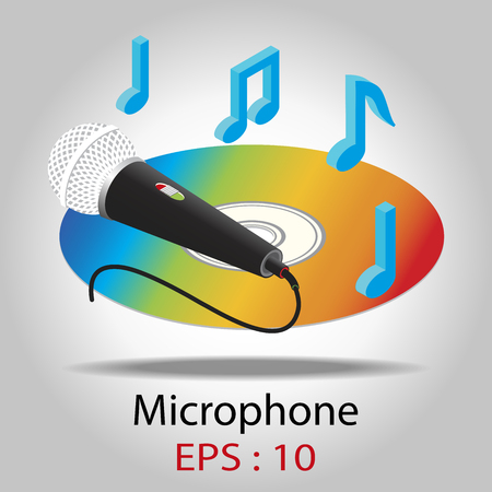logo music: Microphone for Karaoke With CD and music notes vector Illustration on white background. Illustration