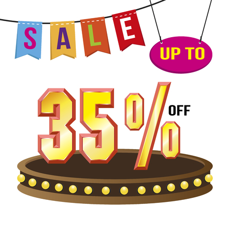 super market: Special offer sale tag isolated vector illustration. Discount offer price label, symbol for advertising campaign in retail, sale promo marketing, 35% off discount, ad offer on shopping day Illustration