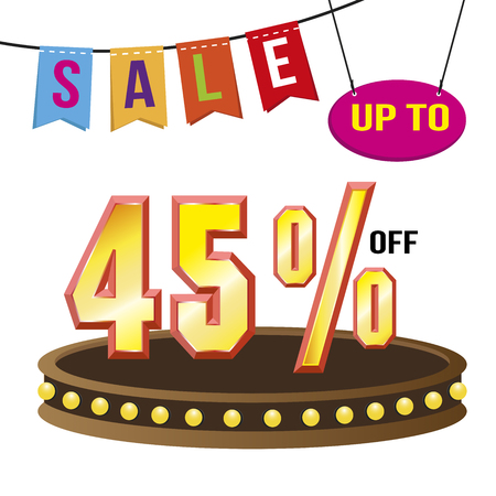 Special offer sale tag isolated vector illustration. Discount offer price label, symbol for advertising campaign in retail, sale promo marketing, 45% off discount, ad offer on shopping day