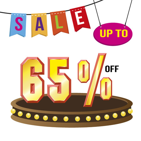 Special offer sale tag isolated vector illustration. Discount offer price label, symbol for advertising campaign in retail, sale promo marketing, 65% off discount, ad offer on shopping day