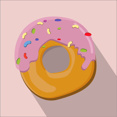 sweetness: donut isolated flat style, donut icon isolated on background, donut on a light Background, vector illustration.