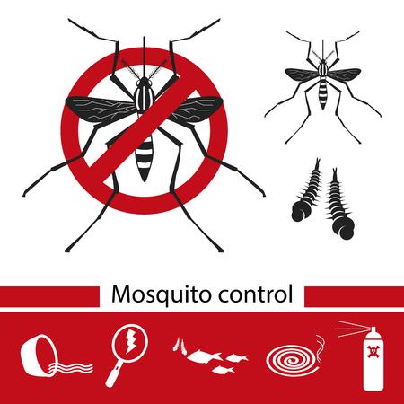 Mosquito control tools icons set, anti mosquito, vector illustration. Illustration