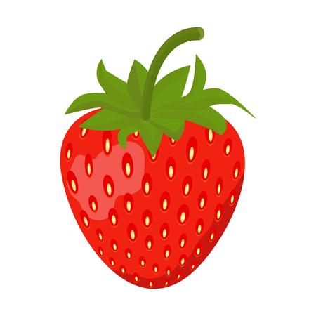 Strawberry Sweet fruit flat style, Strawberry icon isolated on White background, vector illustration.  イラスト・ベクター素材