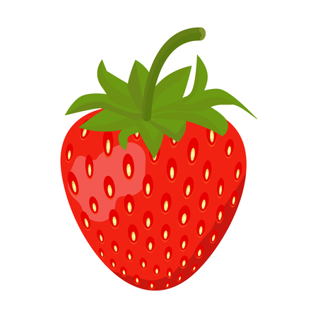 Strawberry Sweet fruit flat style, Strawberry icon isolated on White background, vector illustration. Vectores