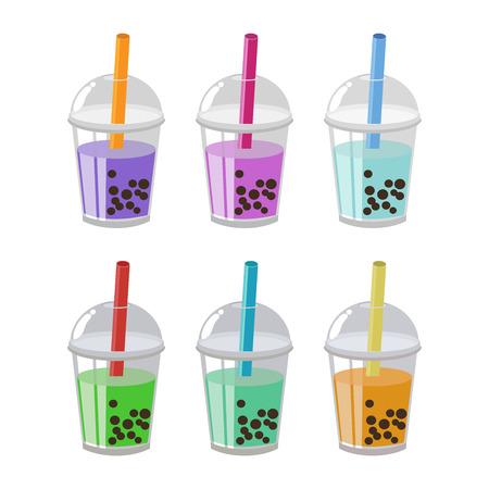 Bubble thee of melk Cocktail platte ontwerp Set geïsoleerd op een witte achtergrond. vector illustratie.