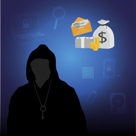 ransom: Business data has been encrypted. malware attack. ransom malware name is wanna cry. vector illustration. Illustration