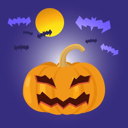 spook: Cartoon Halloween pumpkin with bat, vector illustration.