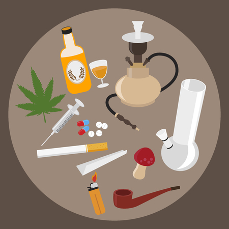 Drugs flat icons set. Marijuana verdovende middelen, verslaving en capsule, rookpijp, tabletapotheek, vectorillustratie Stock Illustratie