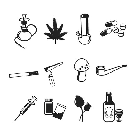 bong: Drugs icons set. Marijuana narcotic, addiction and capsule, smoke pipe, tablet pharmacy, vector illustration