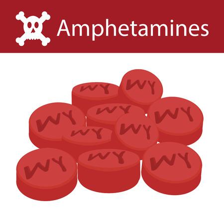 No Drugs, No Amphetamines, Amphetamines flat style isolated on white background, vector illustration.