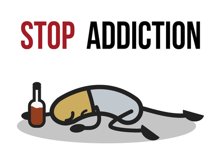The bad character traits. Stop addiction, Alcohol, Conceptual vector illustration.