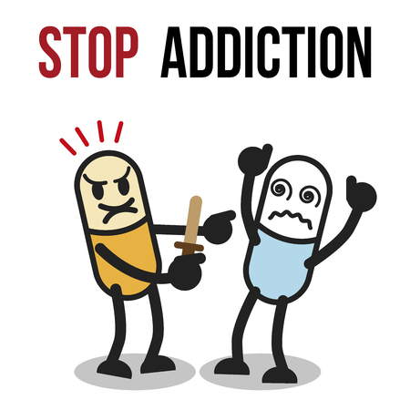 The bad character traits. Stop addiction, Amphetamine, Conceptual vector illustration.