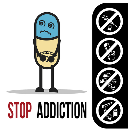 The bad character traits. Stop addiction, Conceptual vector illustration.