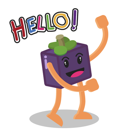 fresh idea: Smiling Mangosteen Fruit Cartoon Mascot Character, Fruit happy Isolated On White Background With Text Hello, Vector Illustration. Illustration