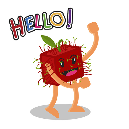 Smiling Rambutan Fruit Cartoon Mascot Character, Fruit happy Isolated On White Background With Text Hello, Vector Illustration. Illustration