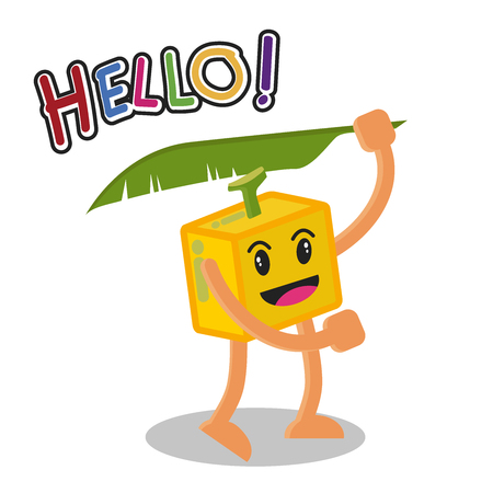 fresh idea: Smiling Banana Fruit Cartoon Mascot Character, Fruit happy Isolated On White Background With Text Hello, Vector Illustration.