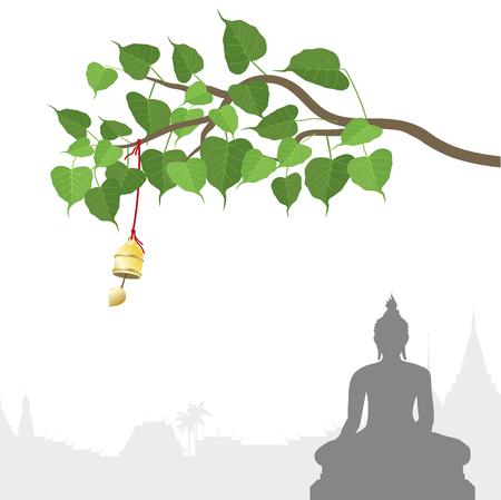 Boeddhabeeld en Bodhi-boom met Gouden klok van Thaise traditie