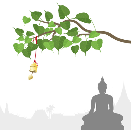 Buddha statue and Bodhi tree with Golden bell of thai tradition Çizim