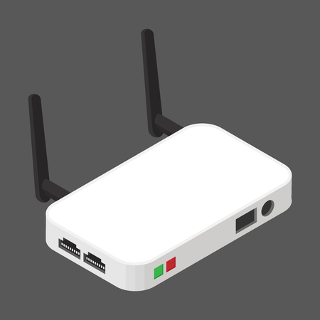 Wireless Network Router of flat style Isometric vector illustration,   Isolated on gray background.