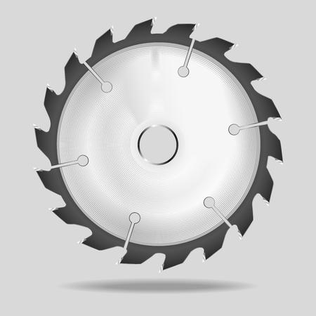 Lame de scie circulaire réaliste Illustration vectorielle sur fond gris. Vecteurs