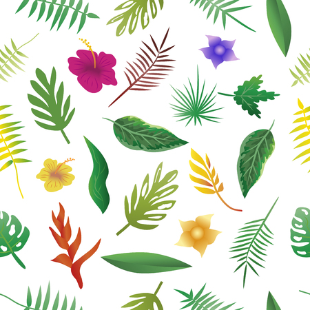 Floral and leaves of summer, Natural Seamless Pattern. vector illustration. Ilustrace