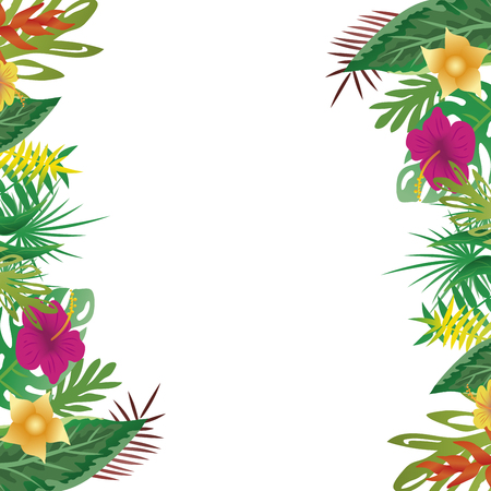 Floral and leaves of summer, with copy space background. vector illustration.