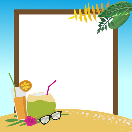 summer holidays on the beach with copy space background, vector illustration.