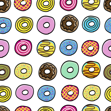 Donuts sweet pattern seamless vector illustration.