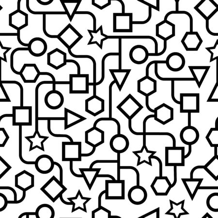 Black and white geometric pattern Seamless. vector illustration.