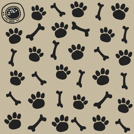 Dog trail and bone pattern Seamless.. vector illustration.