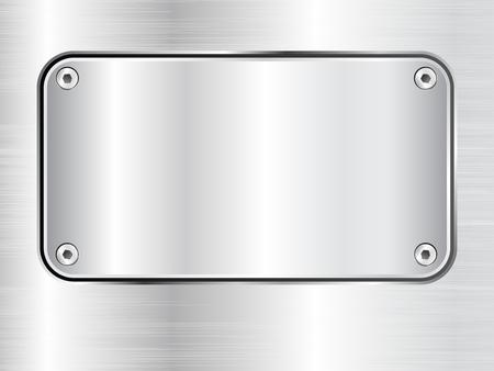 Metal plate background, steel nameplate with screws, vector illustration.
