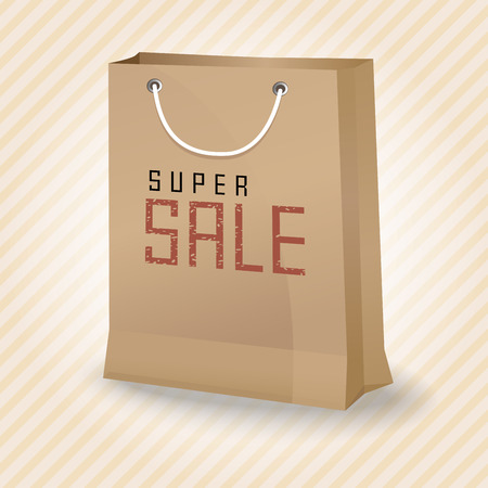 Brown shopping paper bag with super sale, vector illustration. Ilustrace