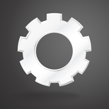 White gear realistic on grey background. vector illustration.