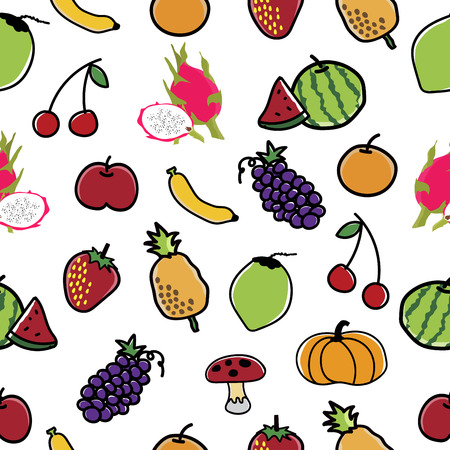 Fruit and Vegetable Pattern Seamless  background vector illustration. Ilustrace