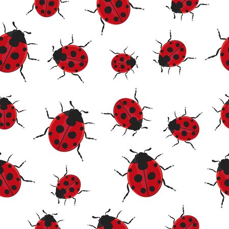 Ladybug Pattern Seamless  background vector illustration.