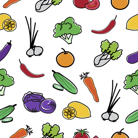 Vegetable Pattern Seamless  background vector illustration.