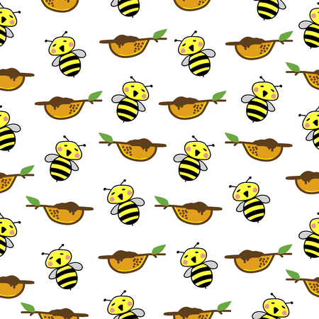 Bee Pattern Seamless  background vector illustration.