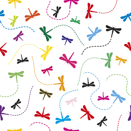 Dragonfly Pattern Seamless  background vector illustration.