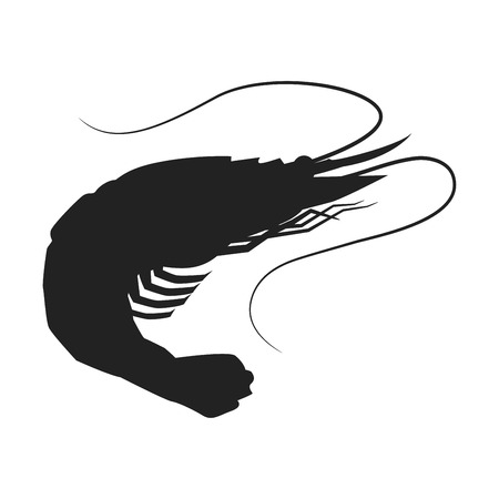 Shrimp icon, Shrimp silhouette seafood shop label, isolated vector sign symbol. Ilustrace