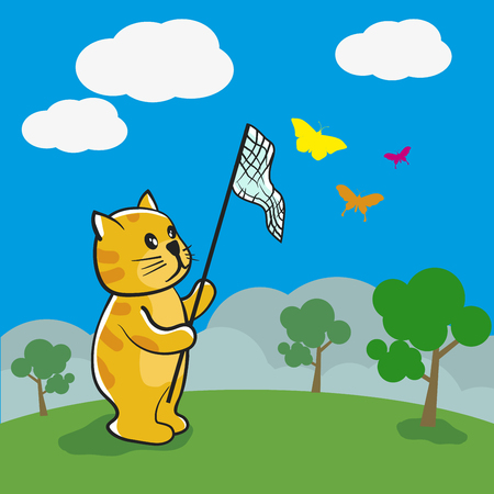 Cartoon cute Cat is catching butterflies vector illustration. Reklamní fotografie - 85124091
