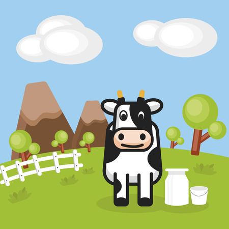 Rural landscape with farm dairy and Milk cans, background vector illustration.
