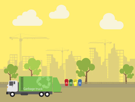 Garbage transportation to dumb near the city, Truck delivery, vector illustration. Ilustrace
